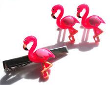 Quantità limitata fatto a mano Rosa Flamingo Gemelli + TIE PIN Set + Gratis Borsa Regalo