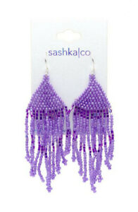 Sashka Co PURPLE Glass Beaded EARRINGS Nepal Fair Trade + Gift Wrap