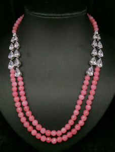 Rose Quarters White CZ Pearl Necklace Earring Set 18 MN 15