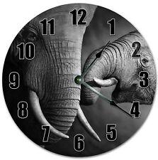 "10.5"" MAMA AND BABY ELEPHANT CLOCK - ANIMALS CLOCK Large 10.5"" Wall Clock 4080"