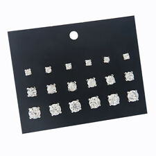 9 Pairs Set Gold Silver Plated Stud Round Crystal Earrings CZ Cubic Zirconia