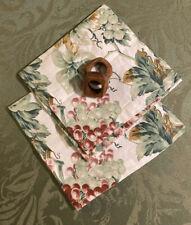 2 Williams Sonoma Napkins Cotton Linen Grapevine Italy + 2 MCM napkin rings