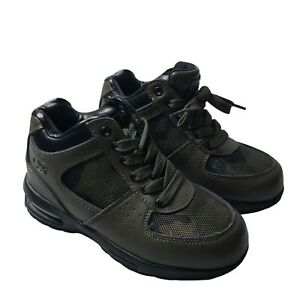 Youth Hiking Shoes Green Camo Air Cushioned Lace Up Ankle Boots Size 1 Leather
