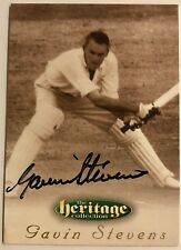 1995 FUTERA HERITAGE CRICKET COLLECTION CARD N0 29/60 SIGNED GAVIN STEVENS
