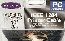 NIB 10' Belkin IEEE 1284 Gold Series A-B Printer Cable PC Compatible