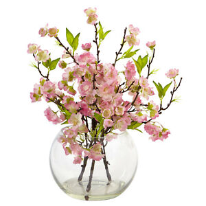 Cherry Blossom Stems Artificial Bouquet in Clear Vase Nearly Natural MPN 4572
