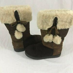 Airwalk Women's Faux Fur Suede Brown Cream Boots Size 7 Tie Balls