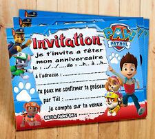 Cartes invitation anniversaire Pat Patrouille  par  6 ou 12