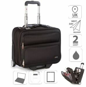 """15.6"""" Laptop Trolley Case Cabin Luggage Overnight Weekend Business Black is0205"""