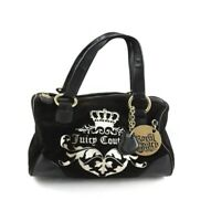 JUICY COUTURE Royal Juicy Black Velour Velvet Hobo Satchel Handbag EUC