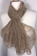 Rose Gold Scarf Pashmina Wrap Sparkly Metallic Foil Sequins Oversized Soft NEW