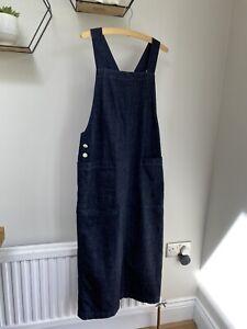 TOAST indigo Denim Apron Dress Size 8 10 Cotton Pockets Casual Long
