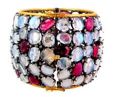 15.9gm 14k Gold Moonstone/Tourmaline Gemstone Bangle Diamond Silver Vintage Look