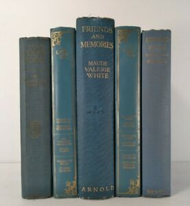 1914~ROMANCE LIBRARY~MARK TWAIN~Lgt Blue 5 Book Lot~Vintage Display~Old Staging