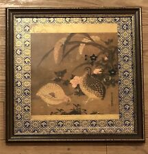 Vtg 1964 framed metallic lithograph Quails/Flower by 15th C artist Tosa Mitsuoki