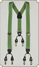 Suspenders - Y-Back Old-timer Green Stripe Suspenders with clips