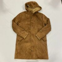 NEW COUNTY Suedette Parka Jacket Faux Suede Brown Mens Small *REF51