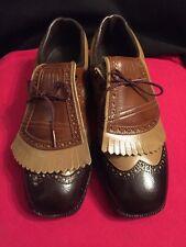 Men's Vintage Saddle Golf Brown Shoes Hardened Steel 90424244~Sz 8.5~RARE!