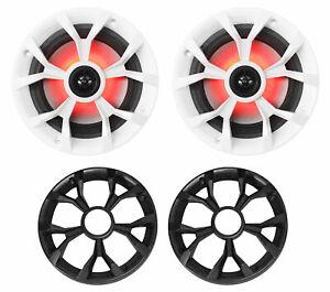 "Pair Rockville RKL65MBW 6.5"" 700w Marine Boat Speakers w/LED+Black/White Grilles"