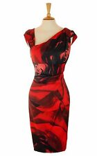 Vestido de Boda Karen Millen Rojo Lápiz Meneo Fiesta Tamaño 8 36 US 4