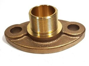 "1-1/2"" Lead-free Brass 2-bolt Water Meter Flange for 1.5"" Meter, MALE Thread"