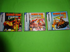 Empty Clear Cases! Donkey Kong Country 1 2 3 Nintendo Game Boy Advance GBA