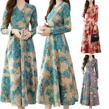 Womens Floral Printed Maxi Dress Ladies Long Sleeve V Neck Swing Dresses Casual