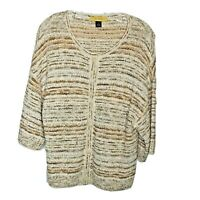 ST. JOHN Nubby Knit Women's Tan Button-Up Career/Casual Sweater Size M Drop Slee