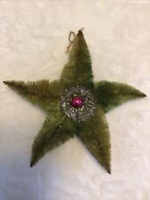 Large Antique Chenille Christmas Star Ornament. 8.5�