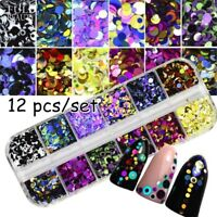 12 Grids/Sets Nail Glitter Sequin Mixed Colors DIY Flake Nail Art Decorations