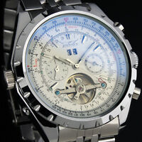 Men's Stainless Steel Watch Mechanical Tourbillon White Sub Dial  Date Luxury