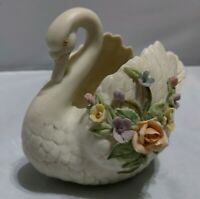RARE Antique Ivory Hand Painted By Lefton White Swan Figurine Planter