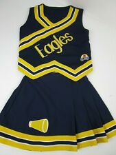 """Eagles Cheerleader Uniform Outfit 32"""" Top 23 Skirt Teen Youth Navy Blue Gold"""