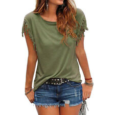 Plus Size Women Tassels Blouse Short Sleeve Summer Beach Scoop Neck T-Shirt Tops