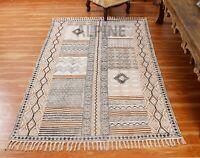 Hand Block Printed Cotton Area Rugs Cotton Flatweave Dhurries Bohemian Kilim