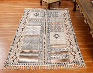 Hand Block Printed Cotton Area Rugs Traditional Dhurries Bohemian Kilim Carpet