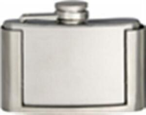 Belt Buckle Flask 3 oz. Fluid Brushed Chrome Surgical Stainless Steel CSC Maxam
