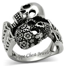 Unisex Stainless Steel Day of the Dead Skull Skeleton Fashion Statement Ring SZ8