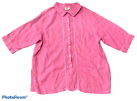 Woman's HOT COTTON Pink 100% Linen Button-Up Blouse 3/4 Sleeve Size Plus 1X
