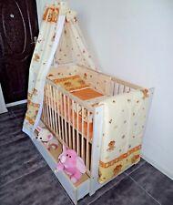 Babybett Komplet Set Gitterbett Schublade Matratze Himmel 5 Farben Weiß Rosa