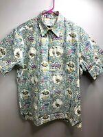 Reyn Spooner Hawaiian Pullover Shirt Reverse Geese Flags Fish L Detrich Varez
