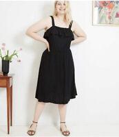 4X- Women's Black Plus Size A-Line Midi Sleeveless Sun Dress Sundress Ava  & Viv