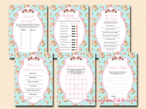 Print Yourself Blue Shabby chic Floral Bridal Shower Games Pack BS141