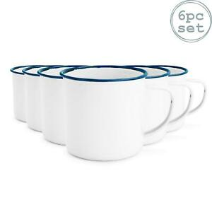 White Enamel Mugs Cups Retro Camping Outdoor Coffee Tea Mug Cup 150ml x6