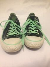 Converse All Star Chuck Taylor Low Top Black And Teal Turquoise Size 10 Women