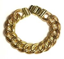 """14k yellow gold 15.24mm hollow double curve link bracelet 31.9g vintage 7 1/2"""""""
