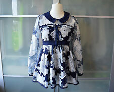 AUTHENTIC Liz Lisa navy blue & silver babydoll dress ~ NEW ~ Japan ~ Lolita
