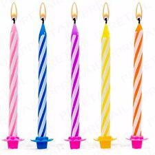 144Pc FUN CANDY STRIPE CANDLES & HOLDERS PARTY SET Birthday Cake Celebration