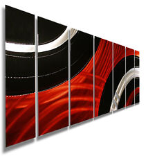 Modern Abstract Red/Black Metal Wall Art Painting Home Decor by Jon Allen