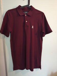Psycho bunny polo t-shirt size 4 medium burgundy realy good condition